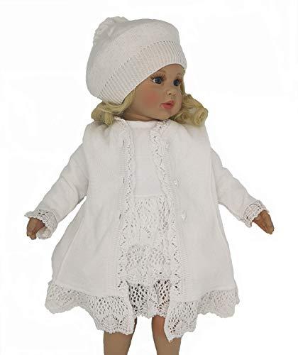 Six for Kids Abito Vestito da Battesimo Neonata Bambina Cerimonia 3 Pezzi Bianco MOD. INA (0-3 Mesi)
