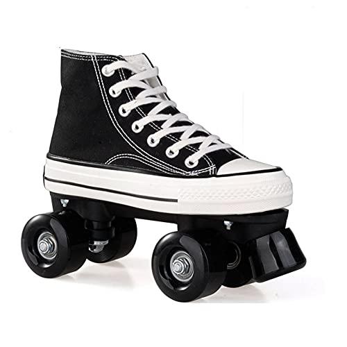 JHGFRT Roller Skates for Women,Quad Roller Skates for Children Sport Outdoorschuhe Skateboardschuhe Adults Rollschuhe LED Double Row Canvas Roller Skates,Blackwhiteborder-EU40