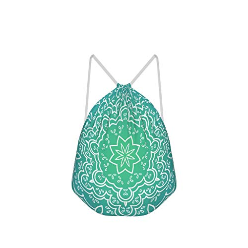 NC83 Set van 6 groene amandela met kleurverloop, koordsluiting, tas, niet te zien, polyester, sporttassen, yoga voor dames, 41 x 34 cm (aanpasbaar/groothandel) Eén maat wit