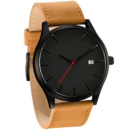 HARRYSTORE Männer populäre Low-Key Minimalistische Konnotation Leder Herren Quarz Armbanduhr mit Datum Display (Schwarz & Gelb)