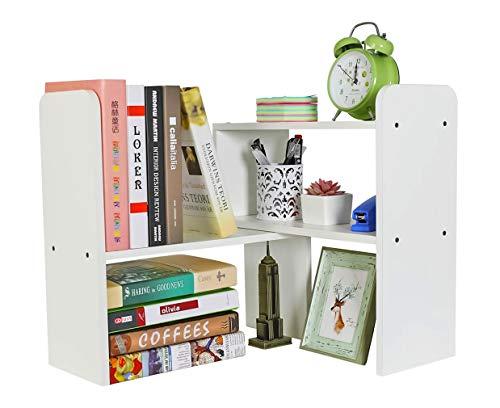 EasyPAG Mini estantes de escritorio de madera ajustable pequeña estantería de escritorio independiente librería para el hogar y la oficina, organizador de literatura, color blanco