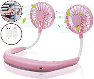 JOMAE Shop - Ventilador portátil para colgar el cuello, con luz LED, doble cuello para el hogar, oficina, viajes al aire libre