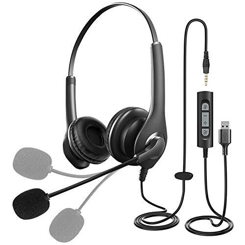 Rigiyoo Auriculares Micrófono PC Auriculares Telefono USB / 3.5mm Auriculares Call Center Micrófono Cancelación de Ruido & Controles de Audio Auriculares Comerciales para Skype, PC, Seminarios Web