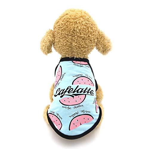 FHKGCD Lente Zomer Hond Kleding Katoen Huisdier Shirt Kleding Voor Kleine Medium Honden Kostuum Fruit Print Kat Hond Kostuum Bulldog