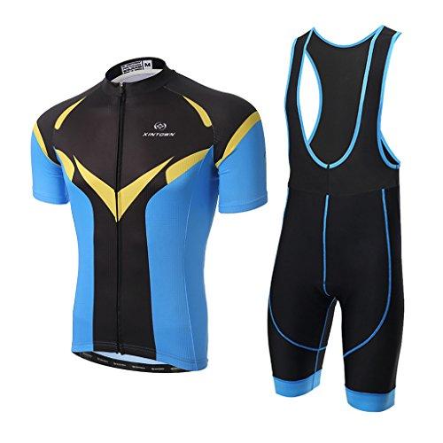 Abbigliamento Ciclismo Set, Skysper Nuova Collezione Estivo Abbigliamento sportivo per Bicicletta Maglia manica corta + Pantaloni corti per Uomo