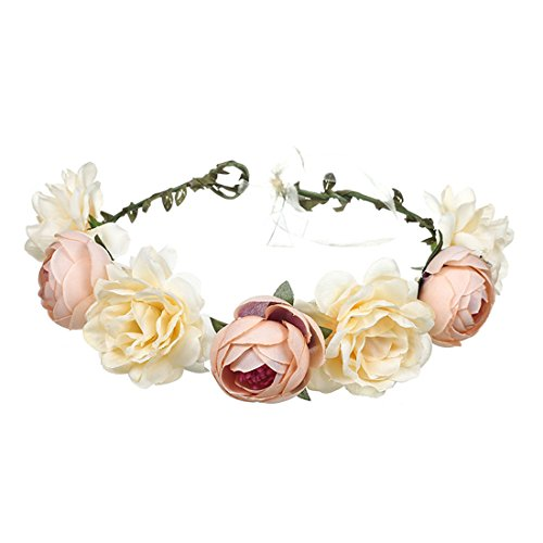 June Bloomy Women Rose Floral Crown Hair Wreath Leave Flower Headband with Adjustable Ribbon (Champagne)