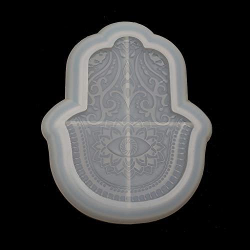 HOTPINK1 Bandeja de mano de Hamsa, de resina, con forma de palma, amuleto, joyas, plato, bandeja de resina epoxi.