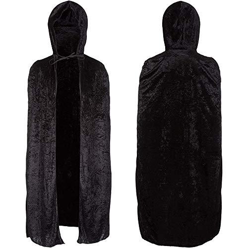 Redstar Fancy Dress - Capa Unisex con Capucha - para Adultos - Ideal para Halloween - Terciopelo Negro