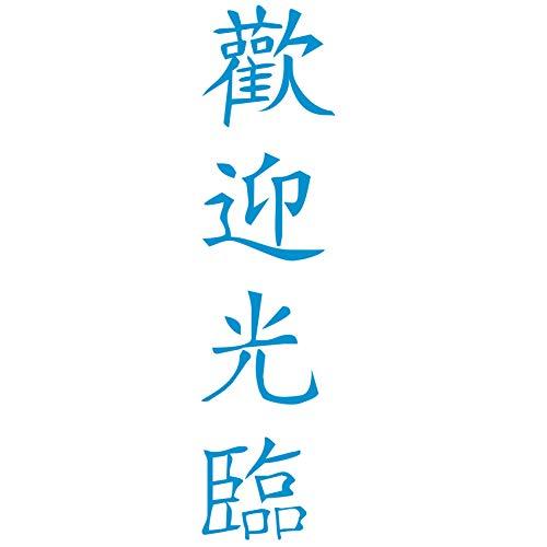 wall-refine WA-02192 | HERZLICH WILLKOMMEN chinesische Schrift | 38 x 150 cm, himmelblau, seidenmatt, Wandtattoo Wandaufkleber in Premium Qualität, Wanddeko Deko Motiv Kalligraphie Zeichen Symbol