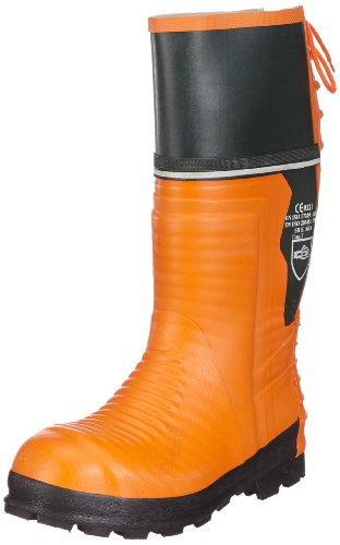 Schnittschutz-Gummistiefel 657-0-500-42 Stiefel, Schnittschutzklasse 2 (=24m/s), CE 0321, EN ISO 20345,  Orange ,43 EU (9 UK)