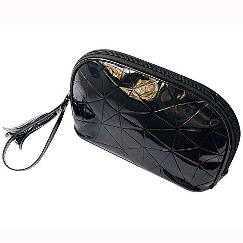 Cosmetic Bag_Skincare Laser Cosmetic Bag Portable Diamond Check Pu Leather, Black
