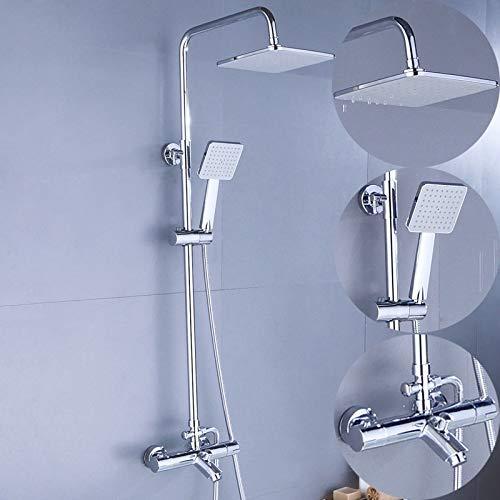 AXWT Sistema de ducha de mezclador de latón galvanoplato, conjunto de ducha anti scald con grifo de válvula mezclador de ducha termostático, cabezal de ducha de lluvia cuadrada, cabezal de ducha de ma