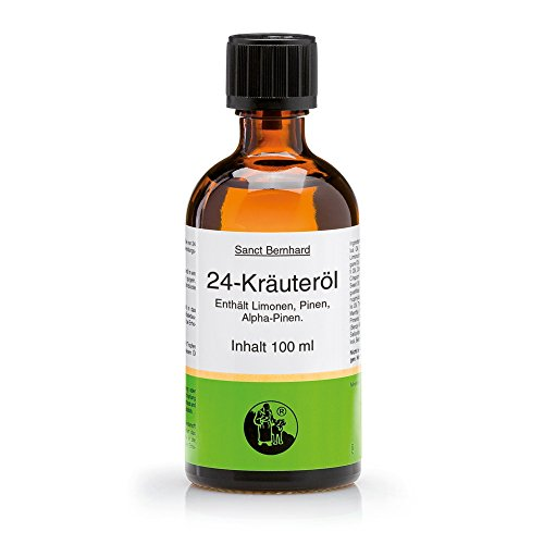 Sanct Bernhard 24-Kräuteröl, 100{b8bdf4fa56358a662d38956fdb92ceabe7f528708bebf359b68e0be8afec1c60} reines ätherisches Öl, Inhalt 100 ml