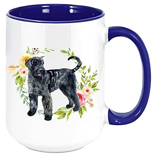 N\A Schnauzer Gigante Taza de café, Blanco con Color Interior y la manija