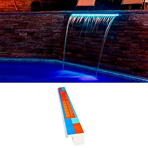 Warmpool Cascada Acrílica Empotrable LED RGB (Tira LED Sustituible) con Control Remoto y Transformador (150 cm lengüeta 12 cm)