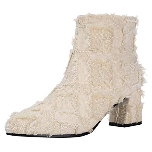 LuckyGirls Fashion Women Suqare Heels Zipper Tassel Lace Short Booties Pointed Toe Chaussures