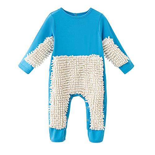 N/AA Amuse-MIUMIU Baby Langarm Mop Strampler Outfit Lustiger Baby Kleidung Wischmop Strampler Reinigungsmop Overall Mädchen Jungen Jumpsuit Babykleidung zum Krabbeln 0-24 Monate