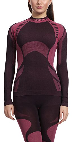 Ladeheid Camiseta Térmica Manga Larga Ropa Interior Mujer LASS0014 (Negro Rojo, M)