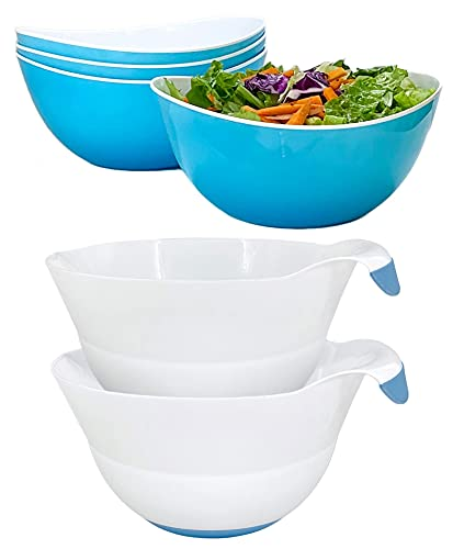 Honla Set of 4 Blue Salad Bowls Bundle with Set of two Blue Mixing Bowls (2 Items)