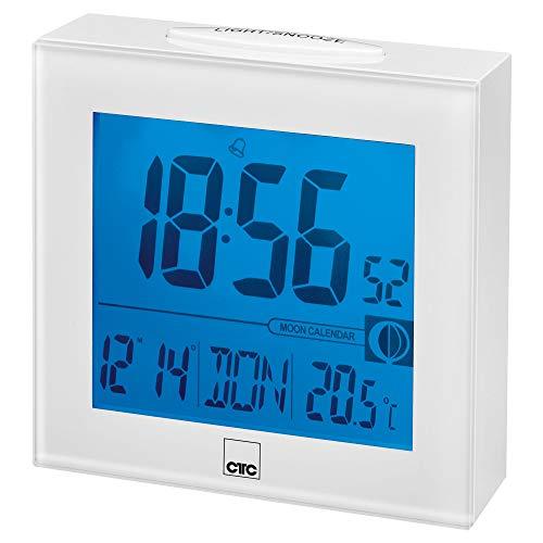 CTC FU 7025 Funkuhr mit großem beleuchtetem LCD-Display,funkgesteuerte Uhrzeiteinstellung, Alarmfunktion weiß