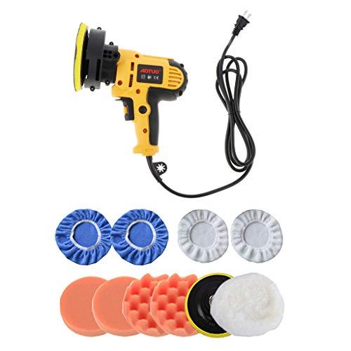 Homyl 5' 550W Car Polisher Machine Polishing Waxing Auto Polishing w/Waxing Bonnet Pad Buffer Waxer Buffing Pad Kit, 6pcs/9pcs/12pcs - Yellow