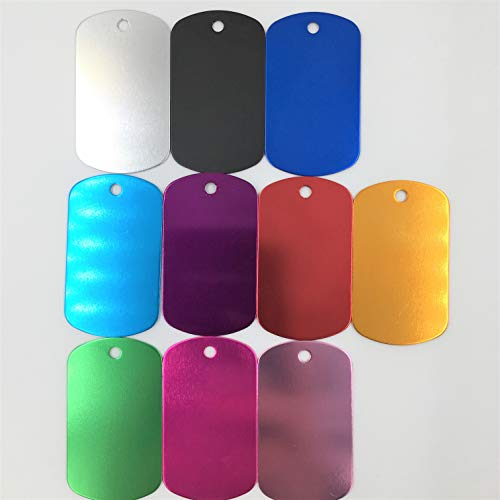 Colorful Rectangle Anodized Aluminum Stamping Blanks Discs for Craft Tags (Pack of 10) (Color Mix)