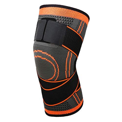 MoKo Kompression Kniebandage, Einstellbar Knieschoner Knie Sleeve Knieschützer mit Band für Laufen Fußball Basketball Arthritis Gelenkschmerzen Genesung nach Verletzungen, XL - Orange/Grau