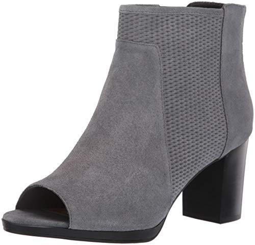 Bella Vita Women's Luna Ankle Boot, Grey Suede LEA, 11 XW US