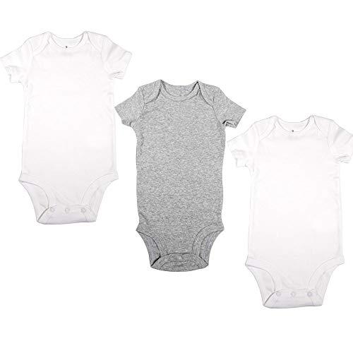 VIC & VAL Body para bebés, Pack de 3, 100% algodón Manga Corta (3 Meses)