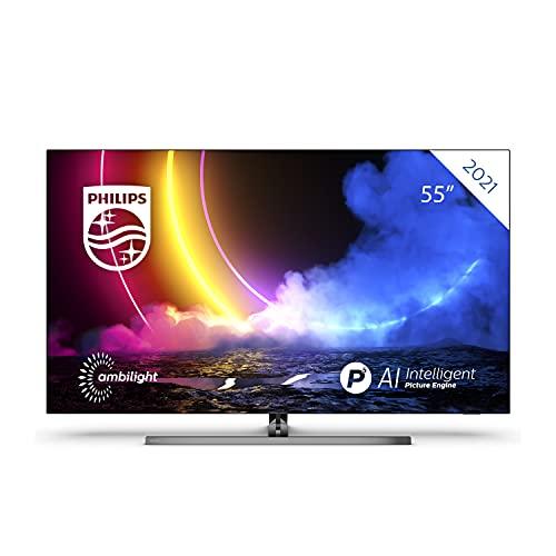 Philips 55OLED856 / UHD OLED Android TV 55 Pulgadas, Smart TV 4K con Ambilight, Imagen HDR Vibrante, Visión Dolby cinematográfica y Sonido Atmos, Compatible con Google Assistance y Alexa, Plateada