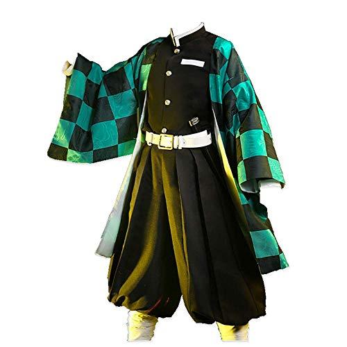 MLYWD Vestido japonés Fotografía Traje de Cosplay Kimetsu no Yaiba/Demon Slayer Kamado Tanjirou Trajes de Kimono Casuales Diarios con Accesorios Peluca Opcional Tela