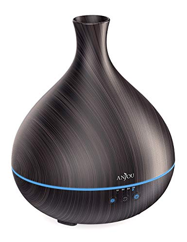 Essential Oil Diffuser, Anjou 500ml BPA Free Cool Mist Humidifier Wood Grain Aromatherapy Diffuser with 7 Color Changing Night for 12hrs of Continuous Quiet Diffuser Aroma (Brown)