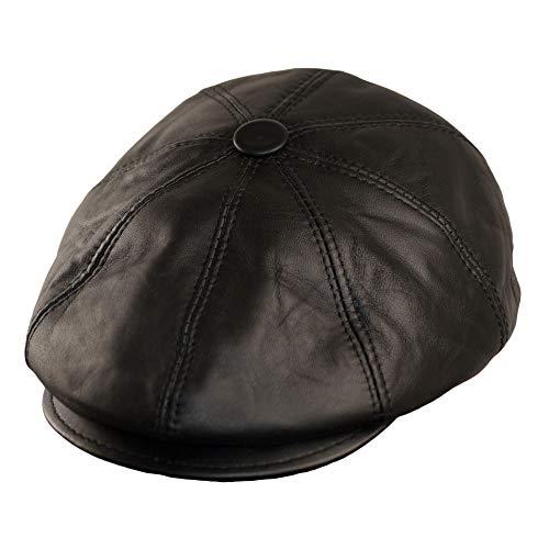 Dazoriginal Boina Cuero Casquillos Plano Gorra Piel Gatsby Sombrero Hombre Beret (Negro, M 55-56)
