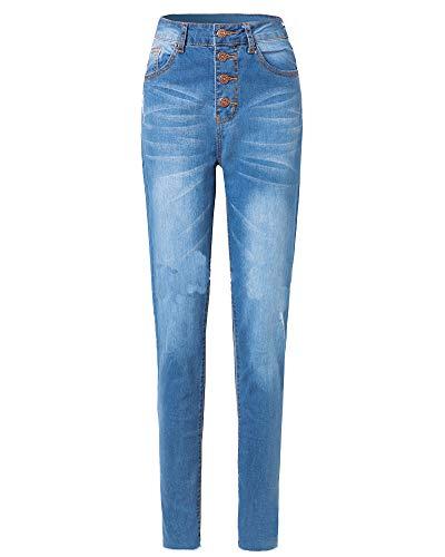 Yiqi Mujer Vaqueros Leggings, Skinny, de Tiro Alto, Pantalones Pitillos, Elasticos Azul Claro L