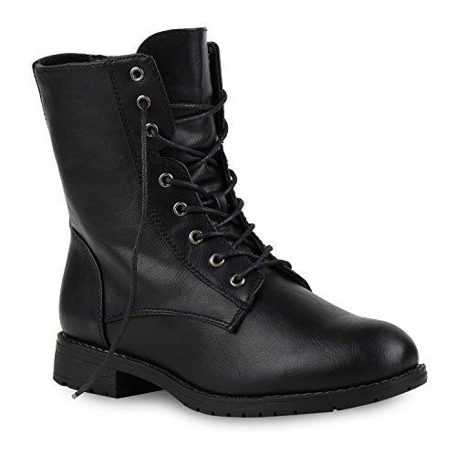 Damen Schnürstiefeletten Boots Camouflage Stiefeletten Leder-Optik Schnür Übergrößen Schuhe 121963 Schwarz Camargo 38 Flandell