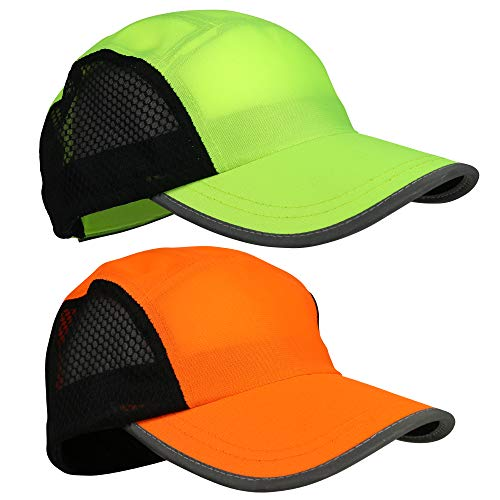 Running Hat 2pack for Men and Women Reflective Gear for Night Safety Great for Jogging, Sports and Outdoors | Mesh Panel for Breathability, Quick Dry, Lightweight, Pink Visor (orange/green)