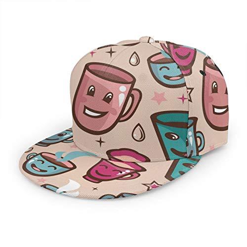 Gorra de béisbol 3D con diferentes expresiones de ala plana ajustable Snapback gorras de deporte para papá, sombrero de camionero para hombres y mujeres, color negro