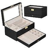 時計オーガナイザーボックス 腕時計 ケース 時計 収納ボックス 2段式 高級 ウォッチ 収納ケース コレクションケース PUレザー製 アクセサリー メガネ 収納兼用 鍵付 (ブラック)