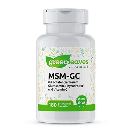 Greenleaves Vitamins - MSM-GC 180 Kapseln mit MSM, Glucosamin, Phytodroitin. 100% Vegan