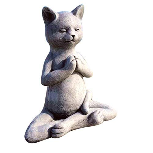 BULABULA Estatua de perro meditating para decoración del hogar, decoración para el hogar, decoración para el jardín, los mejores regalos para los amantes de yoga, arte al aire libre