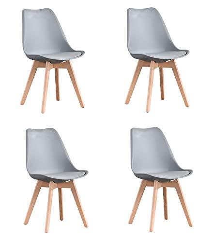 Juego de 4 sillas de comedor ZMALL con patas de madera maciza de haya natural, sillas laterales de cocina, sillas de salón retro para comedor, sala de estar, muebles de hogar