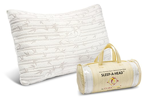 Shredded Memory Foam Pillow With A Luxury Designed Rayon made from Satins Cover, - Hypoallergenic and Dust Mite Resistant, - Great for Neck & Back Pain, Snoring, Migrants, - Made by Clara Clark Bedding, - King Size.