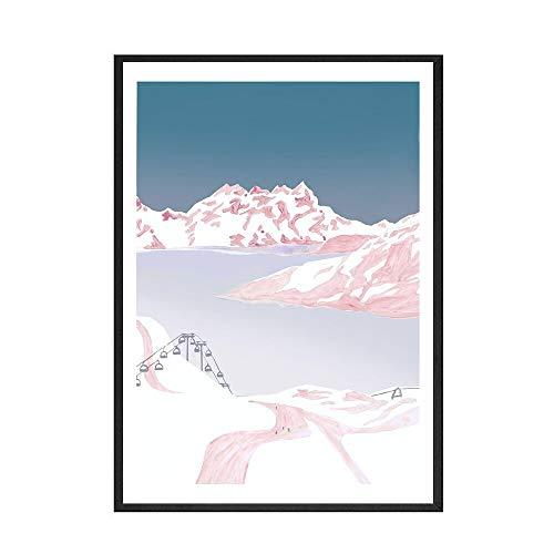Pster de esquiador de ciervo de montaa de nieve, lienzo de estilo moderno, impresin artstica, pintura de lienzo decorativa sin marco familiar E 15x20cm