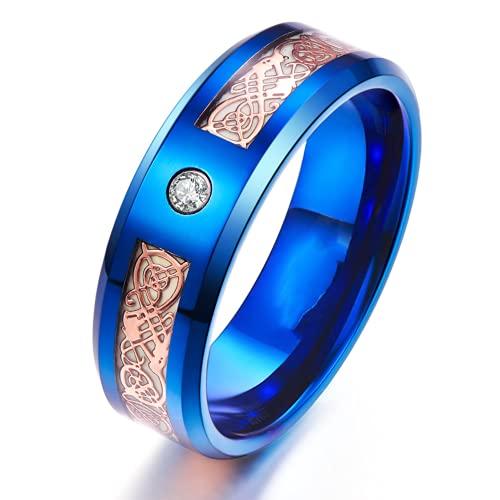 8mm Glow in The Dark Dragon Ring Royal Blue Stainless Steel Wedding Band Celtic Dragons Aurora Luminous Ring (10)