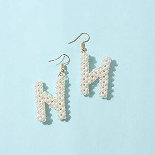 MONGHHF Earrings Letters U/C/H/E/S/F/J/V/I/L/T/W/N/K Earrings For Women Girls White Fashion Dangle Earrings For Party Gifts