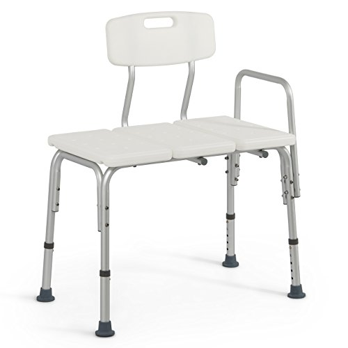 Cheap Onebigoutlet Medical Deluxe Bath Chair Transfer Bench Adjustable Height with 3 Position Backrest Bathtub Shower, White