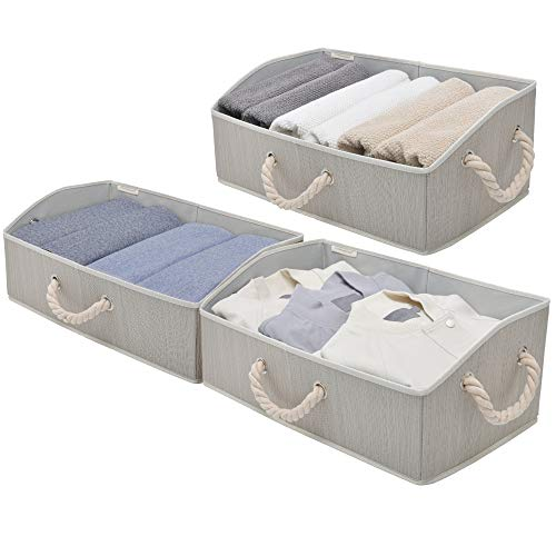 StorageWorks Closet Storage Bins, Trapezoid Storage Box, Fabric Bins and Baskets, Mixing of Gray, Brown & Beige, Jumbo, 3-Pack