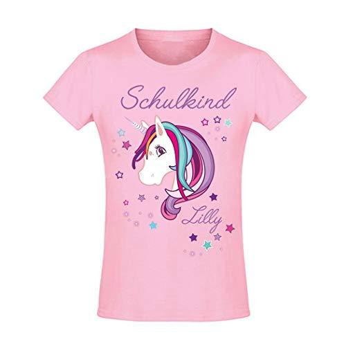 Mein Zwergenland T-Shirt tailliert Mädchen Schulanfang Schulkind 2020 Einhorn Beauty, rosa Gr. 8 Jahre (118-128)