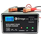 Etrogo Cargador Bateria de Coche 12V/24V 10A Cargador de Batería de Plomo Rapido de Pulso con Pantalla LED a Barra-Gris