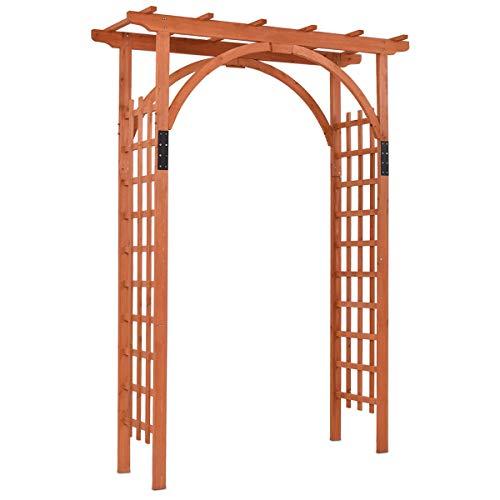 GYMAX Wood Arbor Arch, 85″ Garden Archway